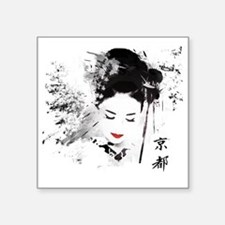 "Kyoto Geisha Square Sticker 3"" x 3"""