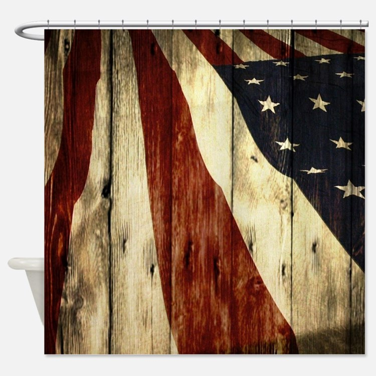 ... Shower Curtains | Vintage American Flag Fabric Shower Curtain Liner