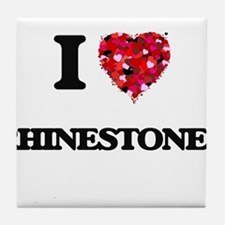 I Love Rhinestones Tile Coaster