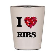 I Love Ribs Shot Glass