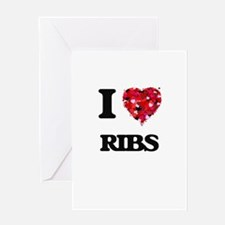 I Love Ribs Greeting Cards