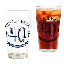 Nautical 40th Birthday Drinking Glass
