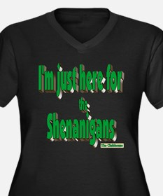 Just here for the shenanigans (green) Plus Size T-