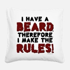 Beard Rules White Feet Square Canvas Pillow