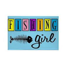 Fishing Girl Rectangle Magnet