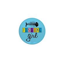 Fishing Girl Mini Button