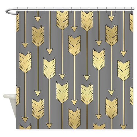 Gray And Faux Gold Arrows Pattern Shower Curtain By Cutetoboottoo