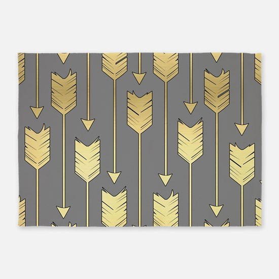 Gray and Faux Gold Arrows Pattern 5'x7'Area Rug