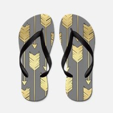 Gray and Faux Gold Arrows Pattern Flip Flops
