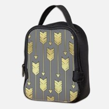 Gray and Faux Gold Arrows Patte Neoprene Lunch Bag