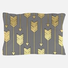 Gray and Faux Gold Arrows Pattern Pillow Case