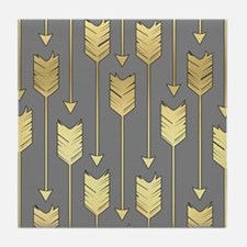 Gray and Faux Gold Arrows Pattern Tile Coaster