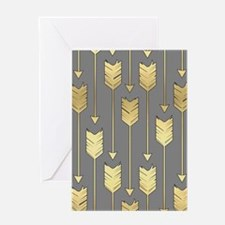 Gray and Faux Gold Arrows Pattern Greeting Card
