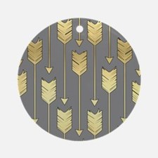 Gray and Faux Gold Arrows Pattern Ornament (Round)