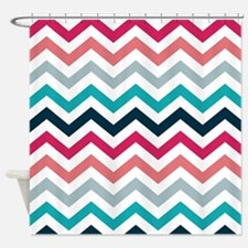 Pink & Blue Chevron Pattern Shower Curtain