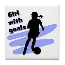 Girl with goals Tile Coaster
