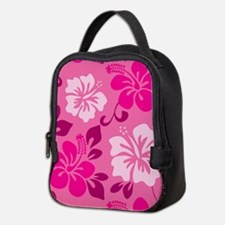Shades of pink Hawaiian Hibiscus Neoprene Lunch Ba