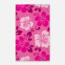 Shades of pink Hawaiian Hibiscus Area Rug