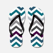 Purple, Blue & Grey Chevron Pattern Flip Flops