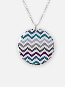 Purple, Blue & Grey Chevron Necklace
