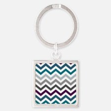 Purple, Blue & Grey Chevron Patter Square Keychain