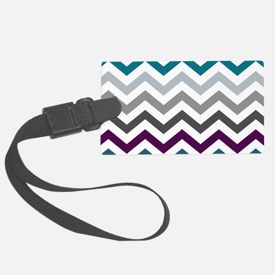 Purple, Blue & Grey Chevron Patt Large Luggage Tag