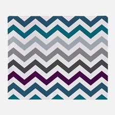 Purple, Blue & Grey Chevron Pattern Throw Blanket