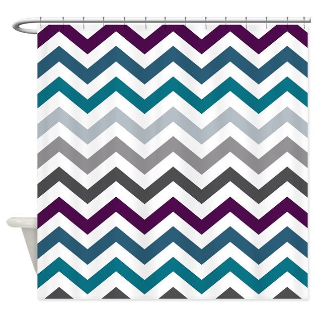 Purple, Blue & Grey Chevron Pattern Shower Curtain by ...