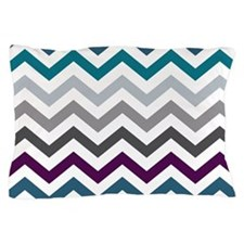 Purple, Blue & Grey Chevron Pattern Pillow Case
