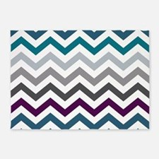 Purple, Blue & Grey Chevron Pattern 5'x7'Area Rug