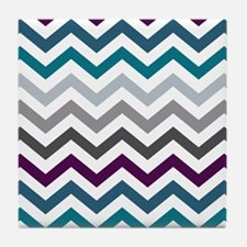 Purple, Blue & Grey Chevron Pattern Tile Coaster