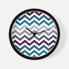 Purple, Blue & Grey Chevron Pattern Wall Clock
