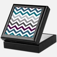 Purple, Blue & Grey Chevron Pattern Keepsake Box