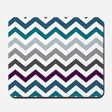 Purple, Blue & Grey Chevron Pattern Mousepad