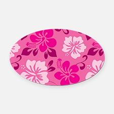Shades of pink Hawaiian Hibiscus Oval Car Magnet