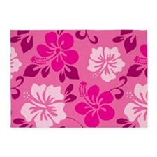 Shades of pink Hawaiian Hibiscus 5'x7'Area Rug