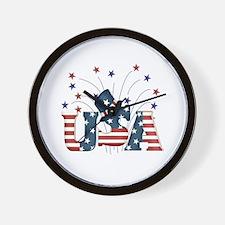 USA Fireworks Wall Clock