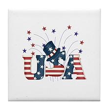 USA Fireworks Tile Coaster