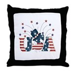 USA Fireworks Throw Pillow