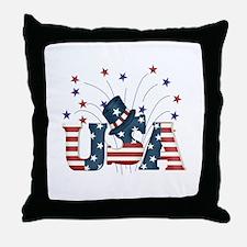 USA Fireworks Throw Pillow