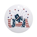 USA Fireworks Ornament (Round)