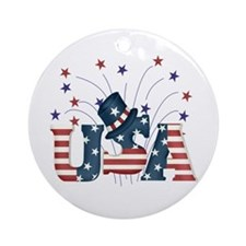 USA Fireworks Ornament (Round)