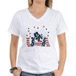 USA Fireworks Women's V-Neck T-Shirt