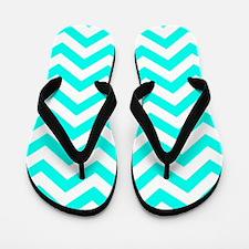 Turquoise Chevron Pattern Flip Flops