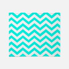 Turquoise Chevron Pattern Throw Blanket