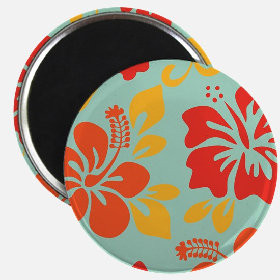 Teal-orange-red-yellow Hawaiian Hibiscus Magnets
