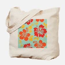 Teal-orange-red-yellow Hawaiian Hibiscus Tote Bag