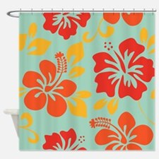 Teal-orange-red-yellow Hawaiian Hibiscus Shower Cu