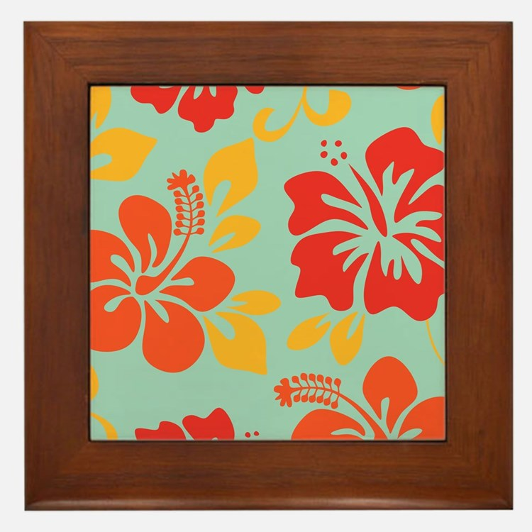 Teal-orange-red-yellow Hawaiian Hibiscus Framed Ti