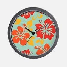 Teal-orange-red-yellow Hawaiian Hibiscus Wall Cloc